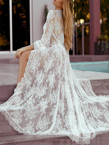 Wavy Lace Loose Beach Maxi Dress