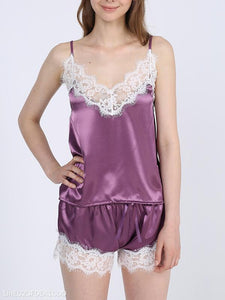 Silk V-Neck Lace Pajamas