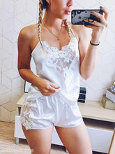 Sexy Silk V-Neck Embroidered Suspender Shorts Pajamas