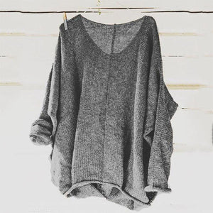 Scoop Neck Long Sleeves Thin Plain Sweater For Women