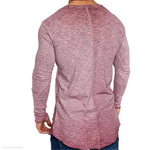 Fashion Youth Casual Loose Plain Long Sleeve Men Top