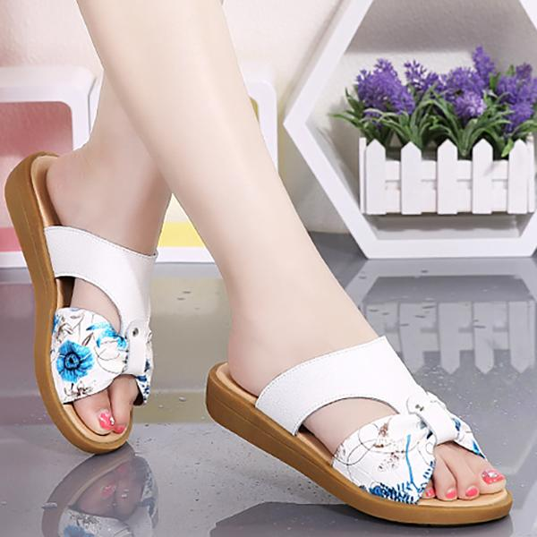 Leather Women's Sandals Women's Slippers Open Toe Breathable Sandals