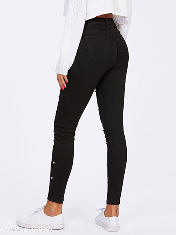 Pearl Decoration Long Black Jeans