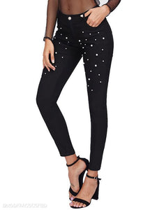 Pearl Decoration Slim Fit Black Pencil Jeans
