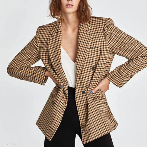 Chic Lapel Double-Breasted Plaid Outerwear