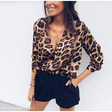 Sexy Deep V Neck Leopard Printed Long Sleeve T-Shirt