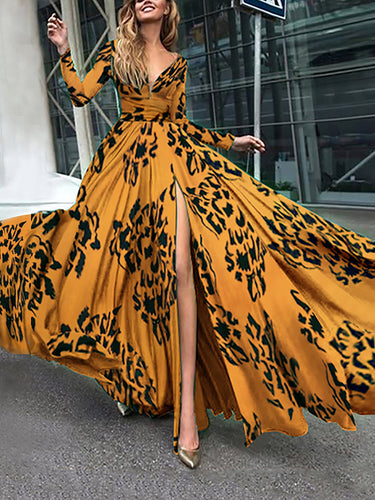Long Sleeved V-Neck Diana Fall Maxi Dress