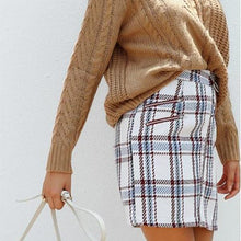 Tweed Woolen Plaid Pattern Skirt