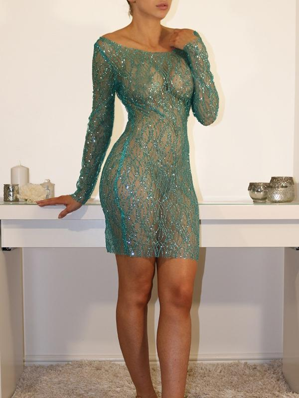 Sexy Perspective Mesh Sequin Bodycon Dress