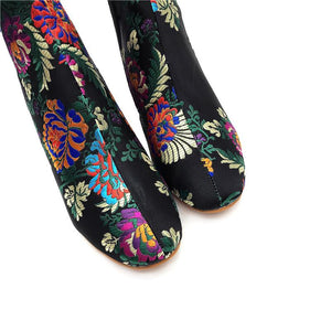 Fashion Ethnic Style Embroidery High Heel Ankle Boots With Women's Boots