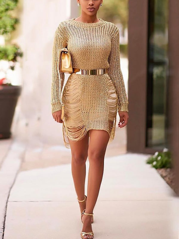 Shredded Hollow Round-Neck Knit Long Sleeve Sweater Dress