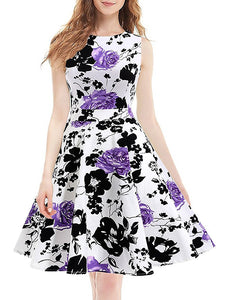 American Hepburn Style Retro Sleeveless Printing  A-Line Dress