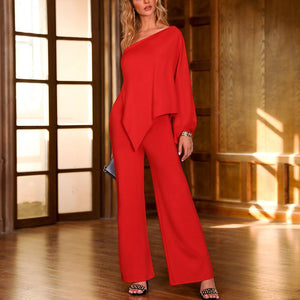 Elegant Multi-Way Sloping Shoulder Jumpsuit