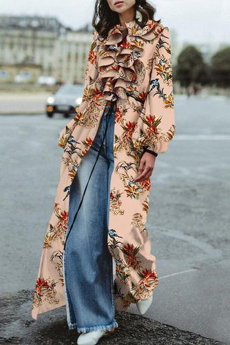 Elegant Fashion Loose Floral Ruffled Collar Puff Long Sleeve Fork Maxi Dress
