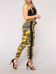 Camouflage Printed Tight-Fitting Nine Pants