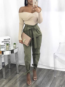 Solid Color Laced High Waist Loose Wild Casual Pants