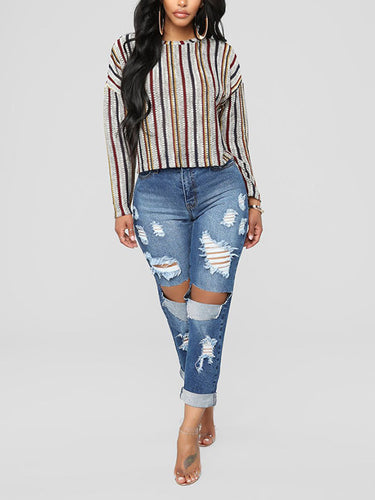 Fashional Individuality Shredded Big-Hole Denim Jeans
