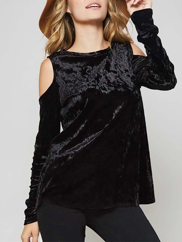 buy best Discover largest selection of 2018 Women Sexy Off-Shoulder Loose Velvet Tops Blouse