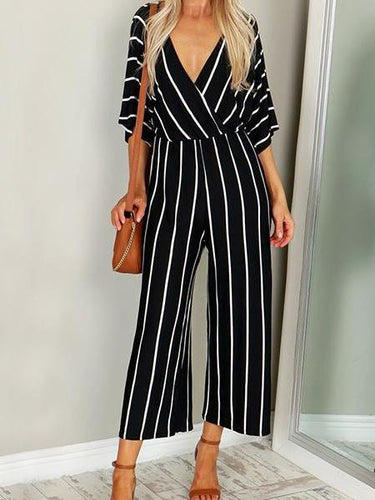 Fashion Stripe Printed Wild Legs Jumpsuits