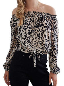 2018 Women Fashion Leopard One-Shoulder T-Shirt Off-Shoulder Top Blouse