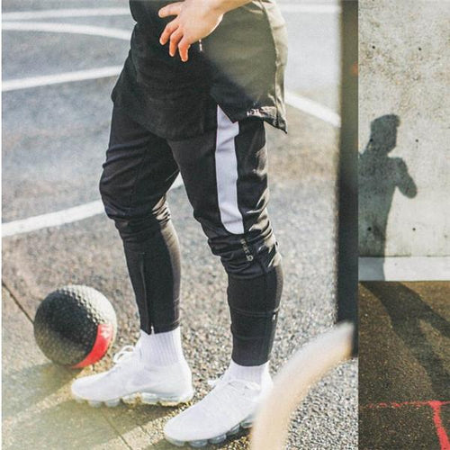 Fashion Casual Sport Youth Strip Elastic Waist Pants