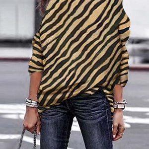 Off-Shoulder Zebra Printed  T-Shirt