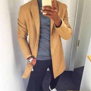 Gentle Fashion Youth Slim Plain V Collar Long Sleeve Men Suit Outerwear