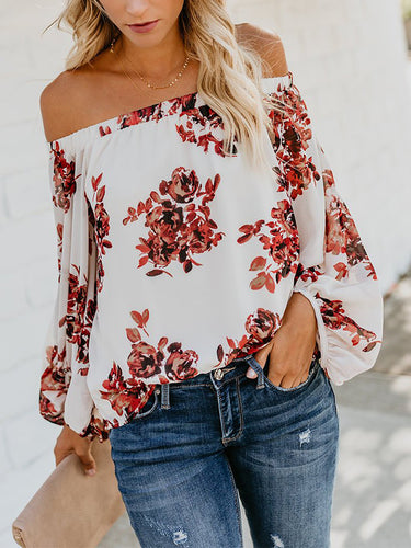 2018 Women Autumn Winter New Print Off-Shoulder Lantern Sleeve Shirt Tops