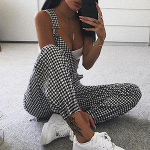 Checkered Straps Slim Fit Jumpsuit