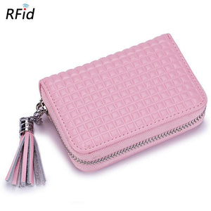 RFID Antimagnetic Women Genuine Leather Multi-Slots 16 Card Holder Small Wallet Coin Bag