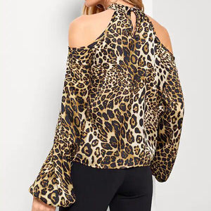 2018 Women Leopard Print Strapless Lantern Long Sleeve Loose Sexy Shirt Tops