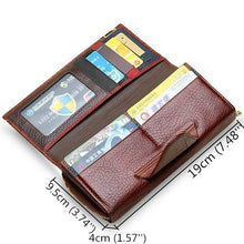 Women Genuine Leather Trifold Wallet Large Capacity Stitching Purse Phone Bag