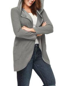 Pure Color Wool Fashion Hoodies Coat