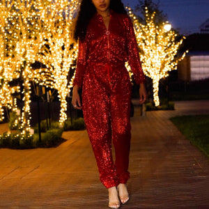 Fashion V Neck Solid Color Paillette Jumpsuits
