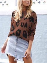 Fashionable Long-Sleeved Leopard Print Loose Sweater