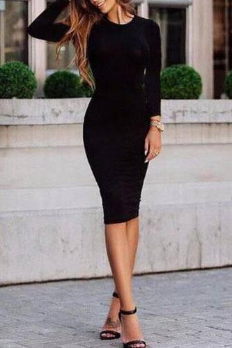 Sexy Round Collar Plain Slim Fit Bodycon Dress