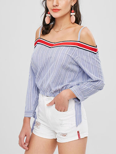 2018 Women Striped Red One-Shoulder Shirt Tops