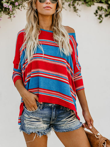 Sexy Round Neck Striped Print Blouse T-Shirt