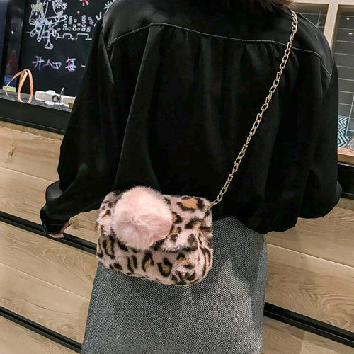 Simple Small Square Bag Plush Small Bag Chain With One Shoulder Slanting Cross Bag