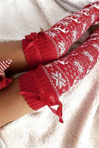Christmas Fashion Knit Print Pile Socks