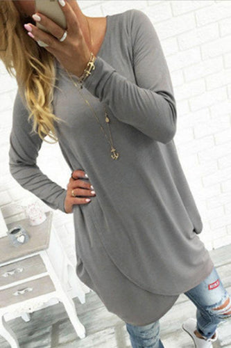 Round Neck  Asymmetric Hem  Plain T-Shirts