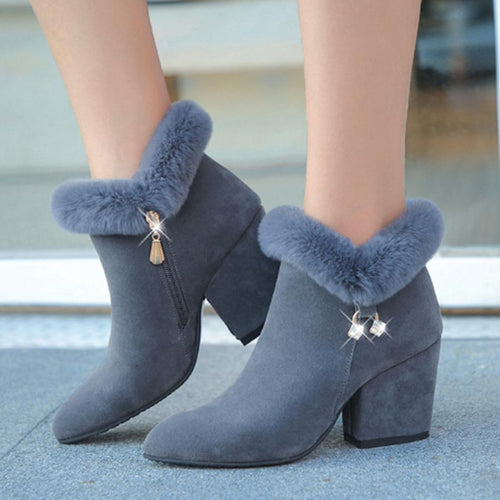 Plain Chunky Velvet Point Toe High Heels Boots
