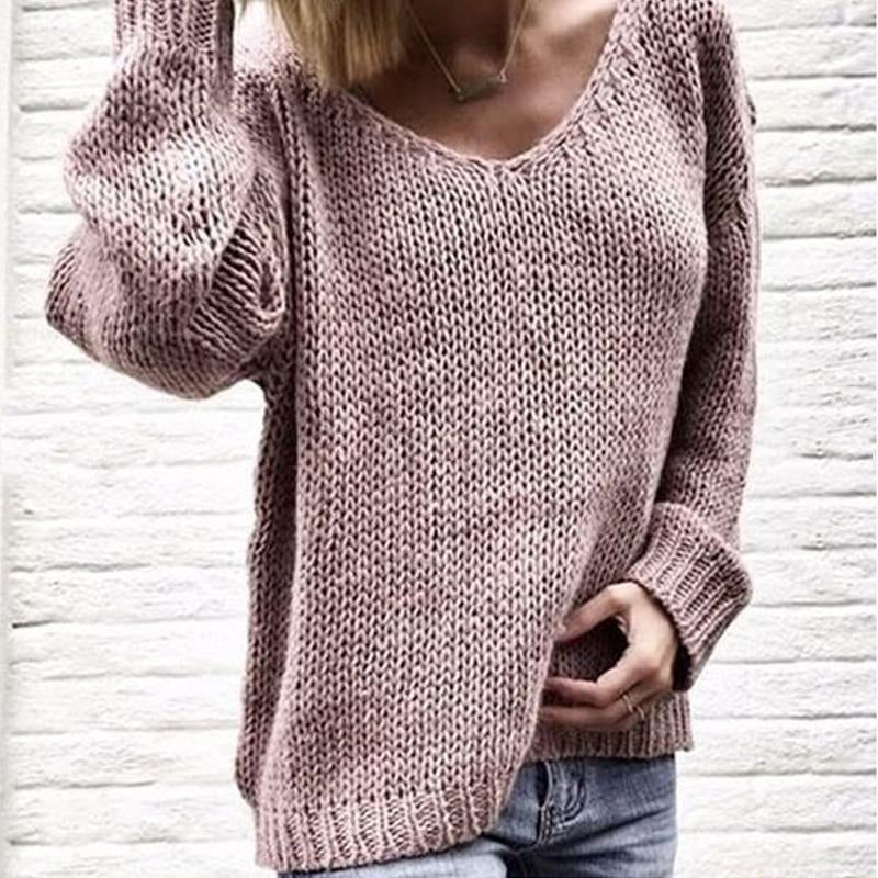 V Neck Long Sleeve Plain Knitting Casual Sweaters
