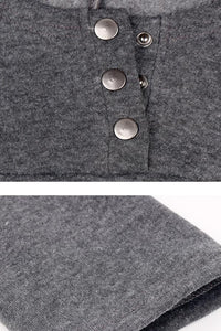 Hooded  Decorative Buttons  Plain Hoodies