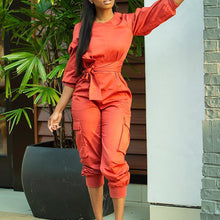 Fashion Casual Solid Color Lantern Sleeve Jumpsuit