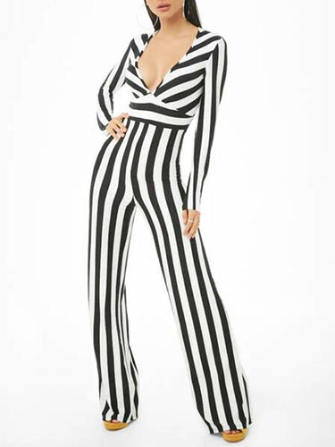Fashion Sexy Deep V-Neck Striped Long-Sleeved Jumpsuit