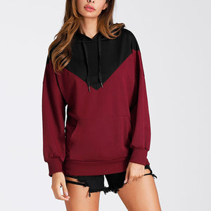 Fashion Bat Sleeve Hooded Colorblock Hoodies