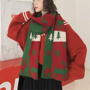 Christmas Gift Knitted   Scarf Warm Cape Elk Snowman Snow Scarf