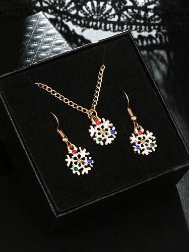 Christmas Diamonds Snowflake Pendant Earrings Earrings Necklace Three-Pieces