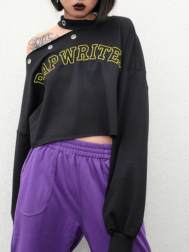 Women Off-Shoulder Letters Embroidered Loose Halter Hoodies